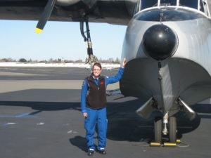 Posing with an Albatross that passed through our airport in Sacramento, CA. February 2009, down to 170.