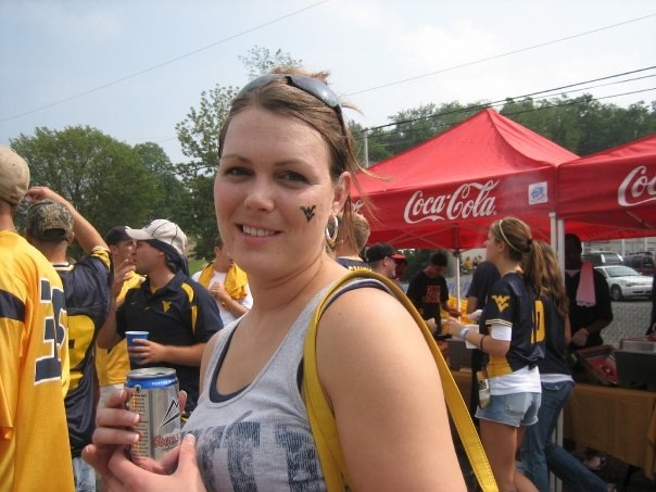 Partying in The Pit at a WVU game in September 2008.