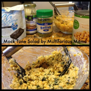 "My recipe for Chickpea ""Tuna"" Salad. This time I included tofu to substitute hard boiled egg. You should try it!"