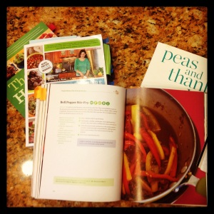 My most recent go-to cookbooks: The Happy Herbivore series and Peas & Thank You.