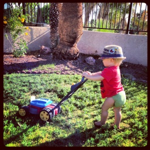He's really into his mower these days.