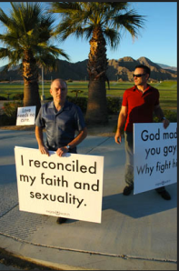 Protesters at a Love Won Out conference.